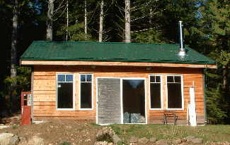 Image of front of rental cabin, Thetis Island